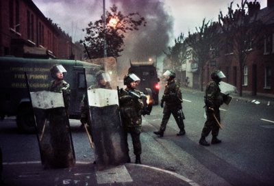 British Army patrol in  Sandy Row, Belfast.  Loyalist communities were rioting in support of the Orangemen..